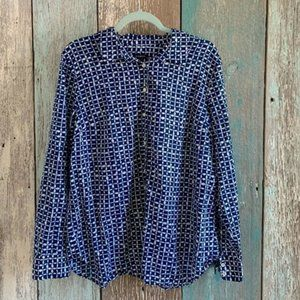 🇺🇸 Talbots Patterned Button Down Blouse XL